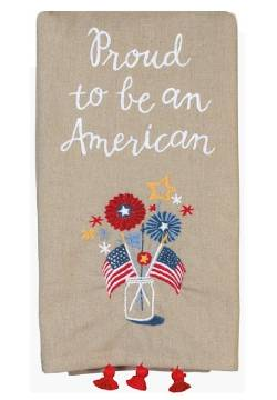 Linen Towel iwth embroidered Mason Jar, Flags and Fireworks THUMBNAIL