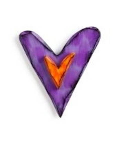 Purple and Orange Carved Heart Wall Art