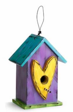 Yellow Heart Birdhouse