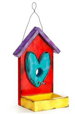 Teal Heart Birdhouse Feeder