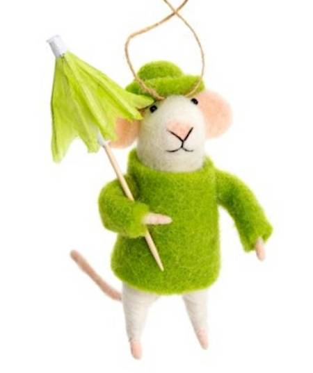 Mouse in Green Raincoat with Umbrella
