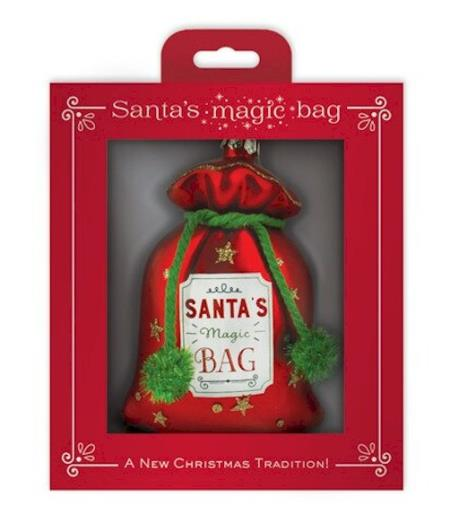 Santa's Gift Bag Glass Ornament LARGE