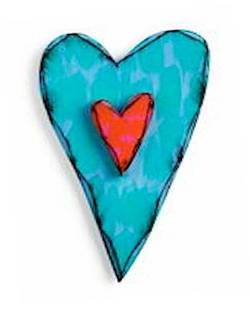Teal and Red Carved Heart Wall Art