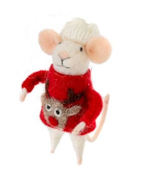 Mouse Figure with Reindeer Ugly Sweater LARGE