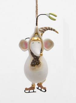 Gold Pirouette Mouse Ornament  THUMBNAIL