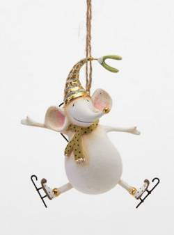 Gold Joyful Mouse Ornament  THUMBNAIL