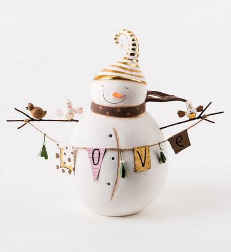 Gold Love Snowman Figure