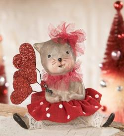 Valentine Kitty figure with hearts. THUMBNAIL