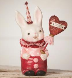 Valentine bunny figure with heart balloon. THUMBNAIL