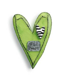 Lime Green Heart with Zebra print Wall Hanger THUMBNAIL