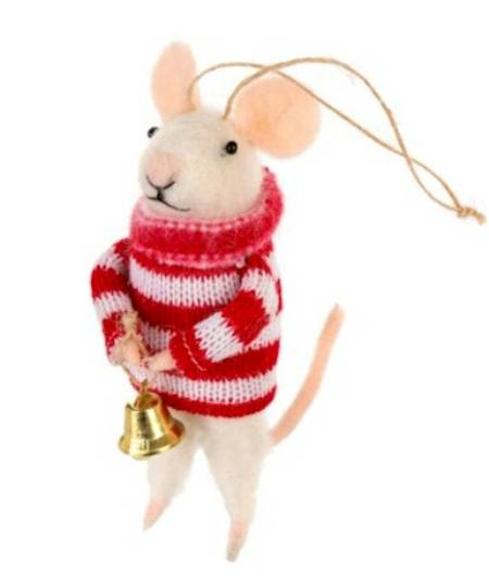 Christmas Mouse with Bell Figure