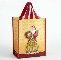 Poinsettia Santa Reusable Bag