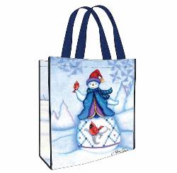 Snowman with Cardinals Reusable Bag