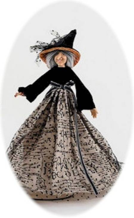 Witch Figure with Black Velvet and Tulle