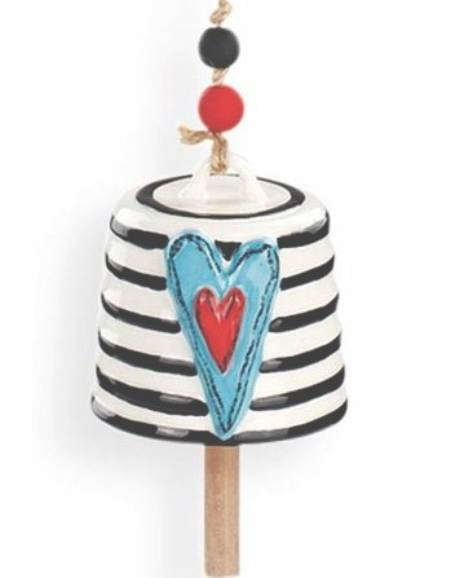 Teal Heart with Stripes Bell LARGE