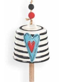 Teal Heart with Stripes Bell THUMBNAIL