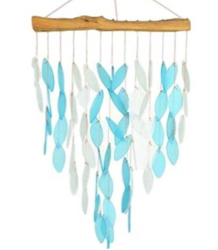Driftwood and Blue Glass Windchime LARGE