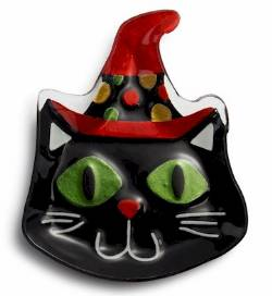 Cat with Witch Hat Plate THUMBNAIL