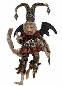 Flying Monkey with Jester Hat with Diamonds