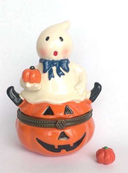 Ghost on Pumpkin Hinged Box