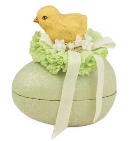 Paper Mache Chick on Yellow Egg Container LARGE