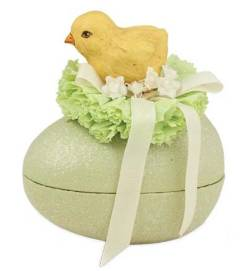 Paper Mache Chick on Yellow Egg Container THUMBNAIL