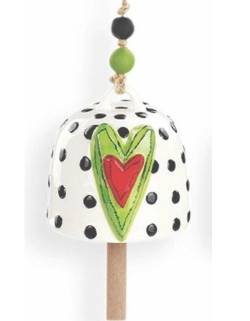 Green Hearts with Dots Bell