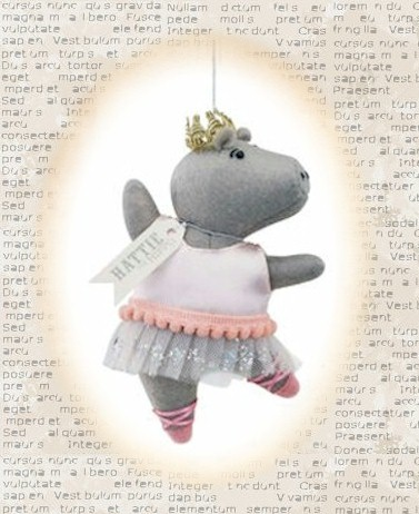 Hattie the Hippo Ballerina Ornament LARGE