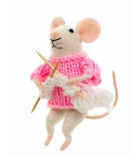 Mouse with Knitting Needles LARGE