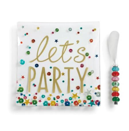 Party glass colorful serving plate with spreader LARGE