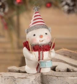 Snowman figure with drum and paper hat. THUMBNAIL