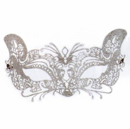 Silver Glittered Lace Mask