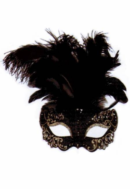 Elegant Black Feathered Mask_MAIN