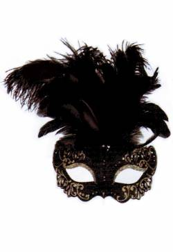 Elegant Black Feathered Mask