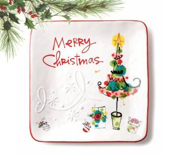 Merry Christmas Square Plate