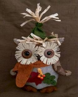 Harvest Sitting Owl with Berries