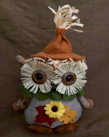 Harvest Sitting Owl with Flower
