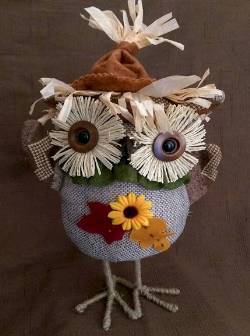 Harvest Standing Owl with Flower