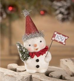 Snowman figure with tree and Joy flag. THUMBNAIL