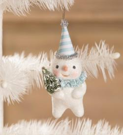 Snowman ornament with party hat, collar and Christmas tree. THUMBNAIL