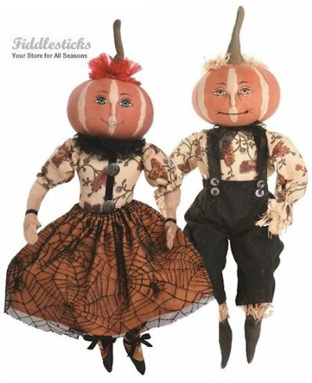 Penelope and Parnell Halloween Pumpkin Head Couple LARGE