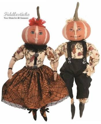 Penelope and Parnell Halloween Pumpkin Head Couple THUMBNAIL