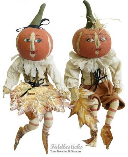 Peter and Lulie Leaf pumpkin Couple LARGE