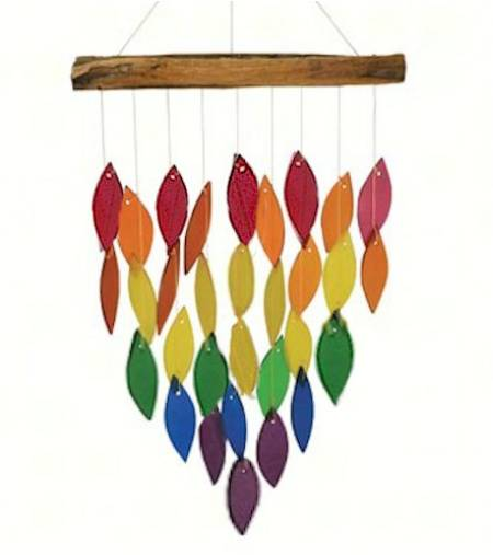Driftwood and Colored Glass Chime