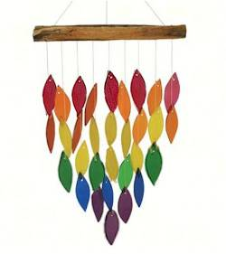 Driftwood and Colored Glass Chime THUMBNAIL