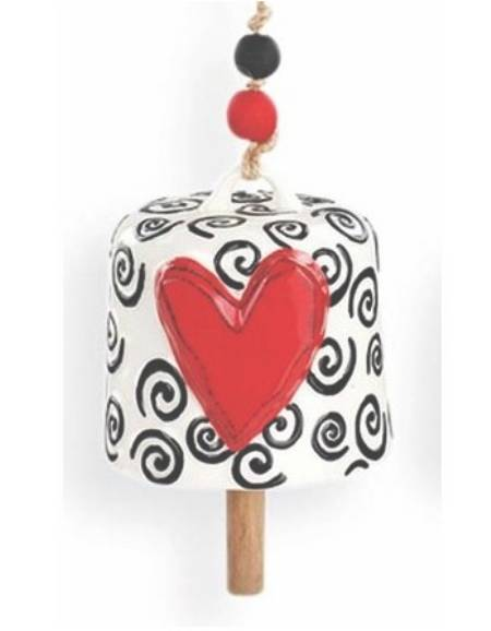 Red Heart with Swirls Bell LARGE
