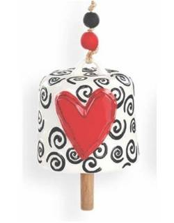 Red Heart with Swirls Bell