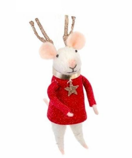 Mouse figure with Reindeer Antlers LARGE