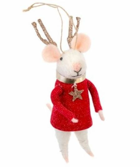 Mouse figure with Reindeer Antlers