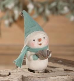 Snowman figure with felt hat, scarf and music THUMBNAIL